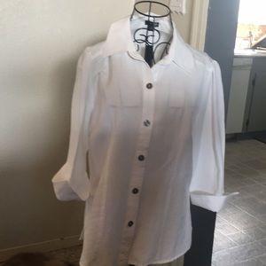 "White vintage linen ""east fifth"" 3/4 sleeve Med"